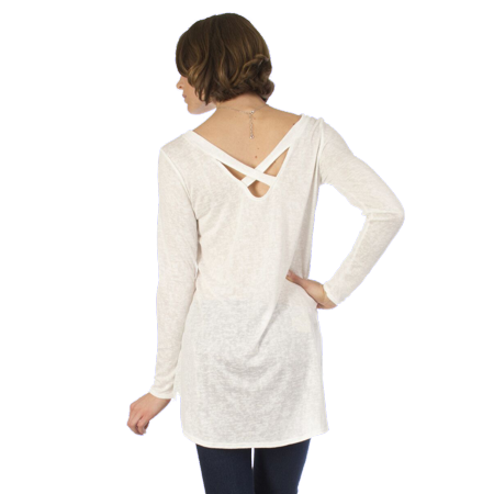 Women's Burnout Long Sleeve Shirt Criss Cross  Top Small to 3x Plus Size Made in USA (Butterfly Burnout Top)