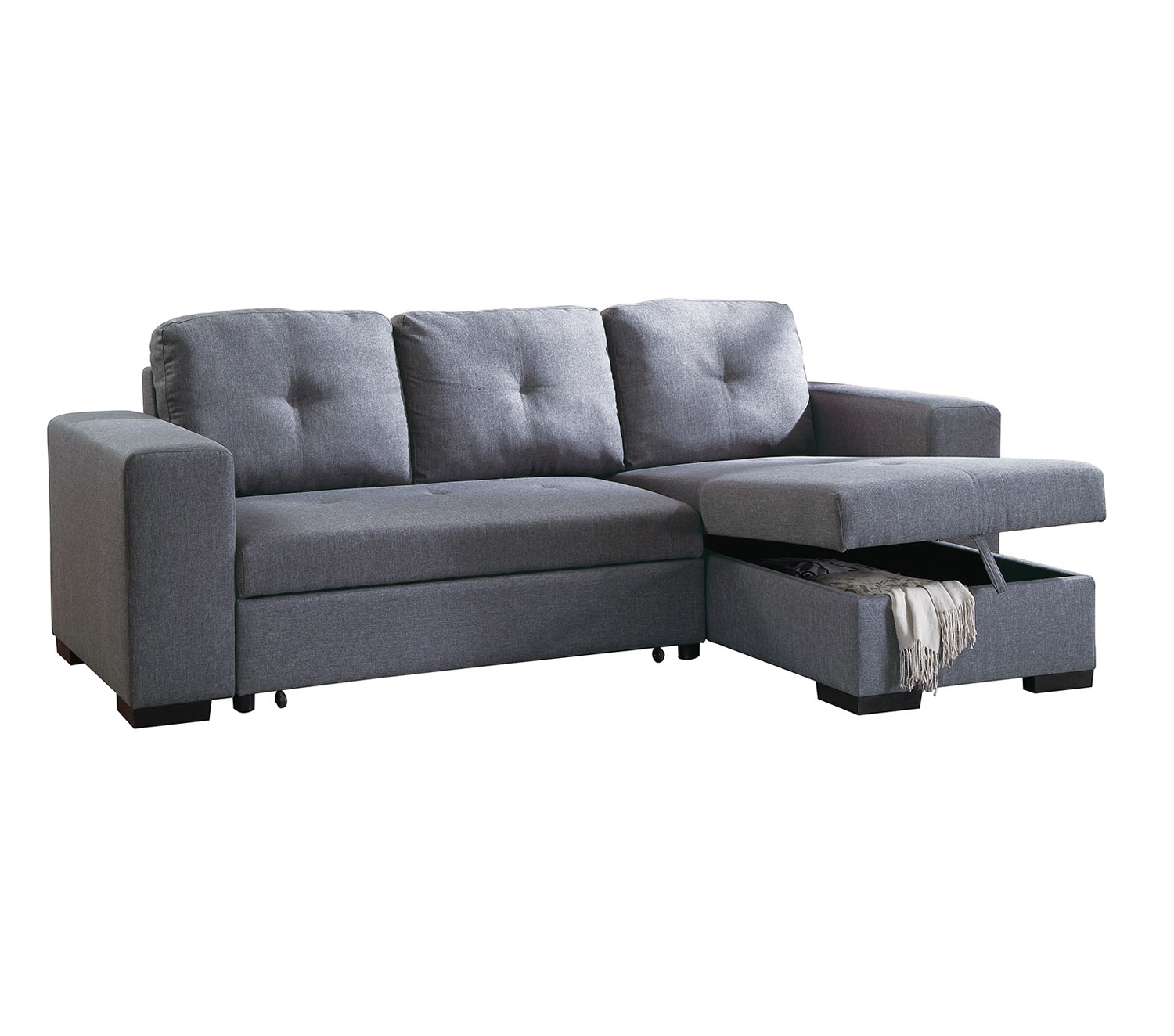 Bobkona Forbes Linen-like Polyfabric 2-Piece Reversible Sectional with Pull-Out Bed and Compartment in Blue Grey by Poundex