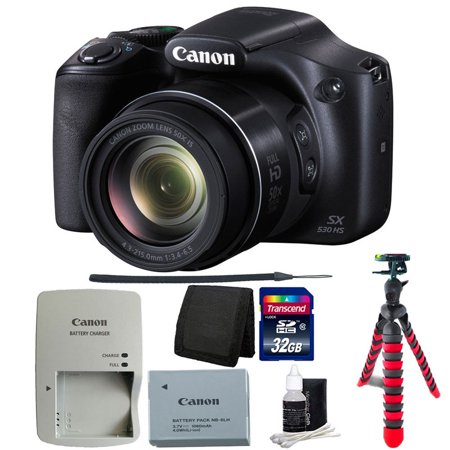 Canon PowerShot SX530 HS 16MP 50X Optical Zoom Wi-Fi Digital Camera (Black) + 32GB Bundle