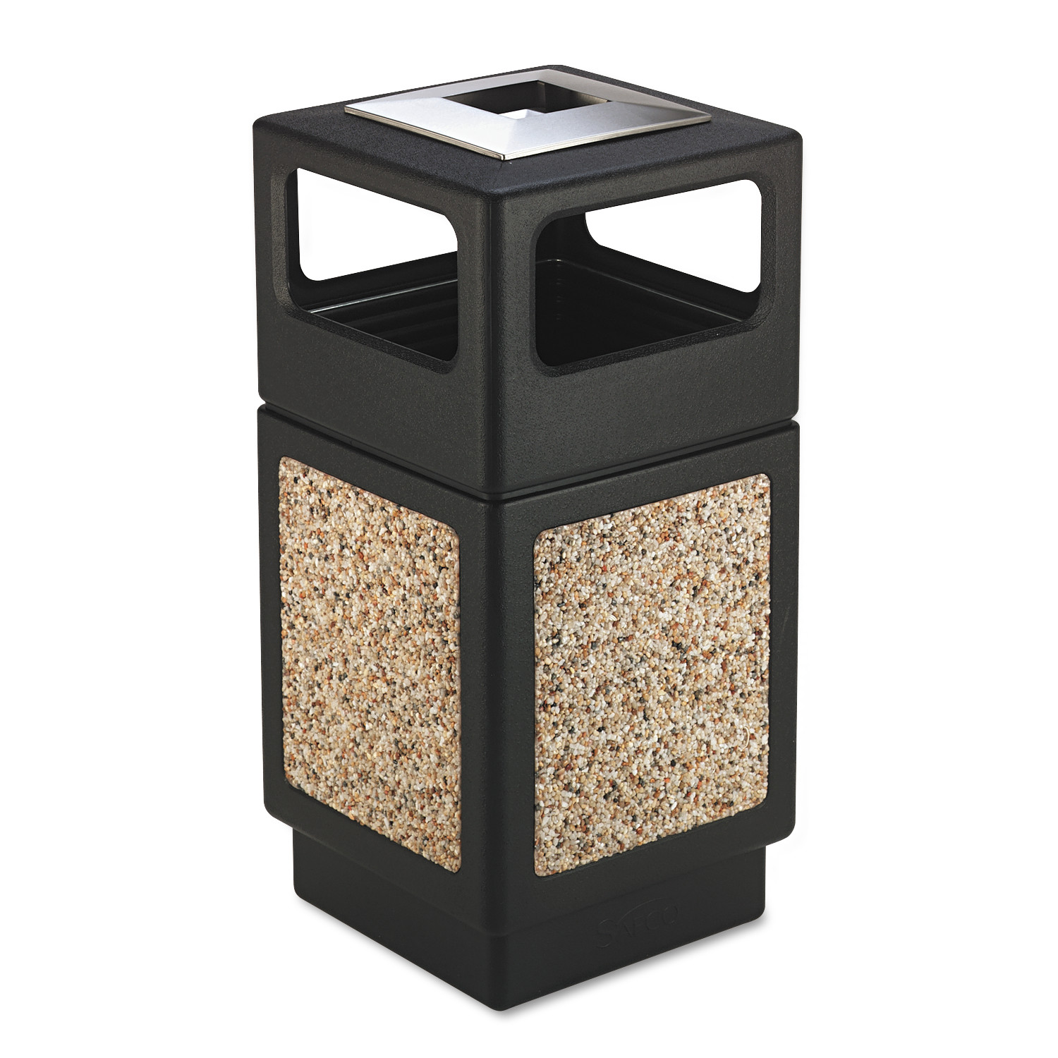 Safco Canmeleon Ash/Trash Receptacle, Square, Aggregate/Polyethylene, 38gal, Black