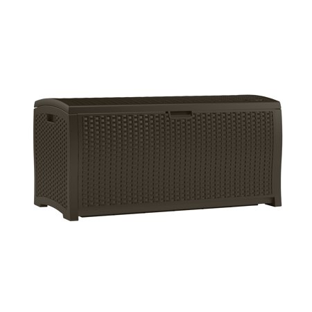 - Suncast 99 Gallon Java Resin Wicker Deck Box DBW9200
