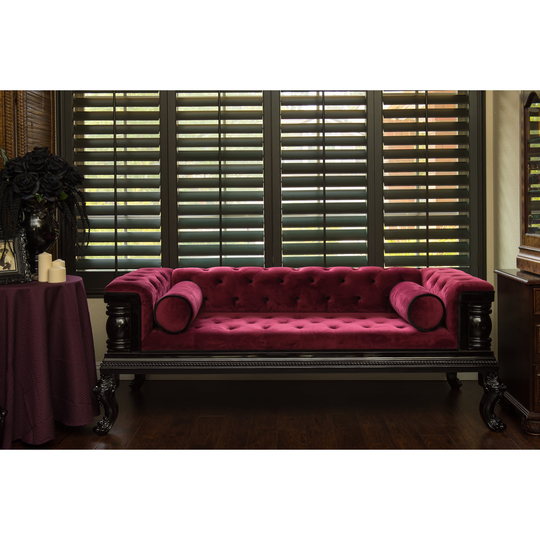 Apex Casket Company Gothic-Inspired Tufted Red Velvet Sofa
