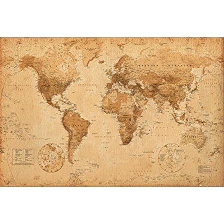World Map (Antique) Art 24x36 Poster, High Quality Poster Print By POSTER STOP ONLINE,USA