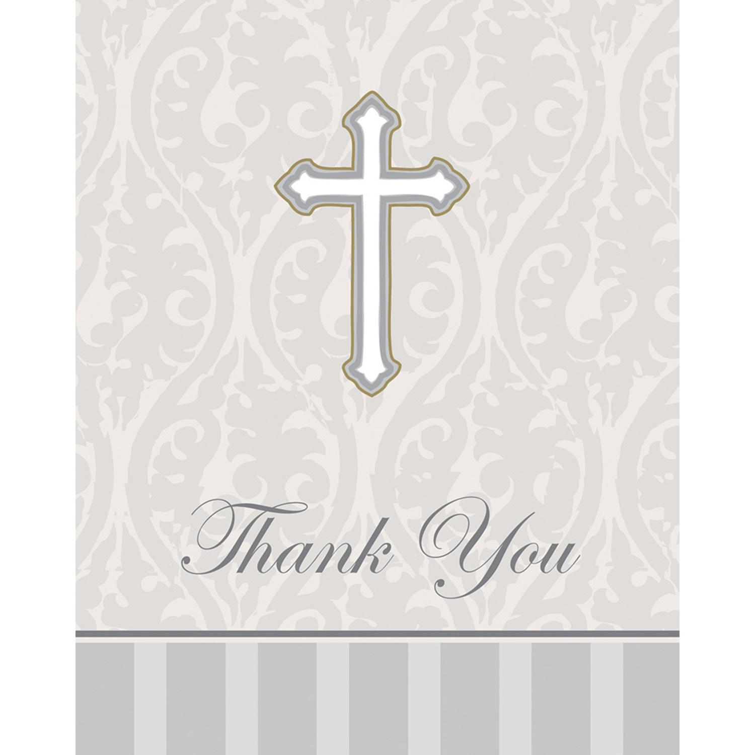 Club Pack of 96 Gray Devotion Religious Themed Thank You ...