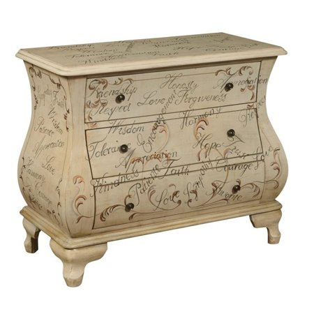 Hand Painted Corner Accent Chest - PRI 3 Drawer Accent Chest in Neutral Maci