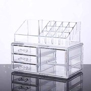 Unique Home Makeup Cosmetic Organizer Conceals Lipstick, Eyeshadow, Brushes in One place Storage Drawers, Clear, Medium, 2 Piece Set