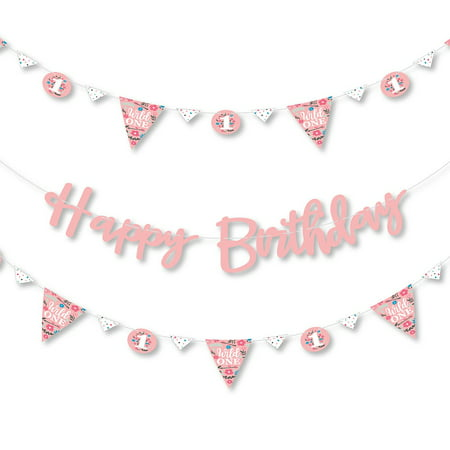 She's a Wild One - Boho Floral 1st Birthday Party Letter Banner Decoration - 36 Banner Cutouts and Happy Birthday Banner Letters ](Boho Birthday Party)