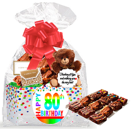80th Birthday Anniversary Gourmet Food Gift Basket Chocolate Brownie Variety Pack Box Individually Wrapped 12pack