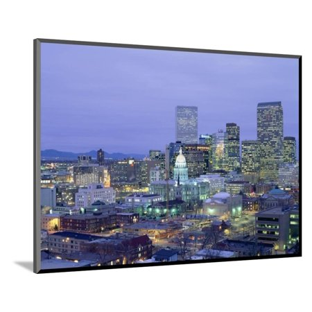 High Angle View of the State Capitol Building and Downtown, Denver, Colorado, USA Wood Mounted Print Wall Art - Halloween Night Downtown Denver