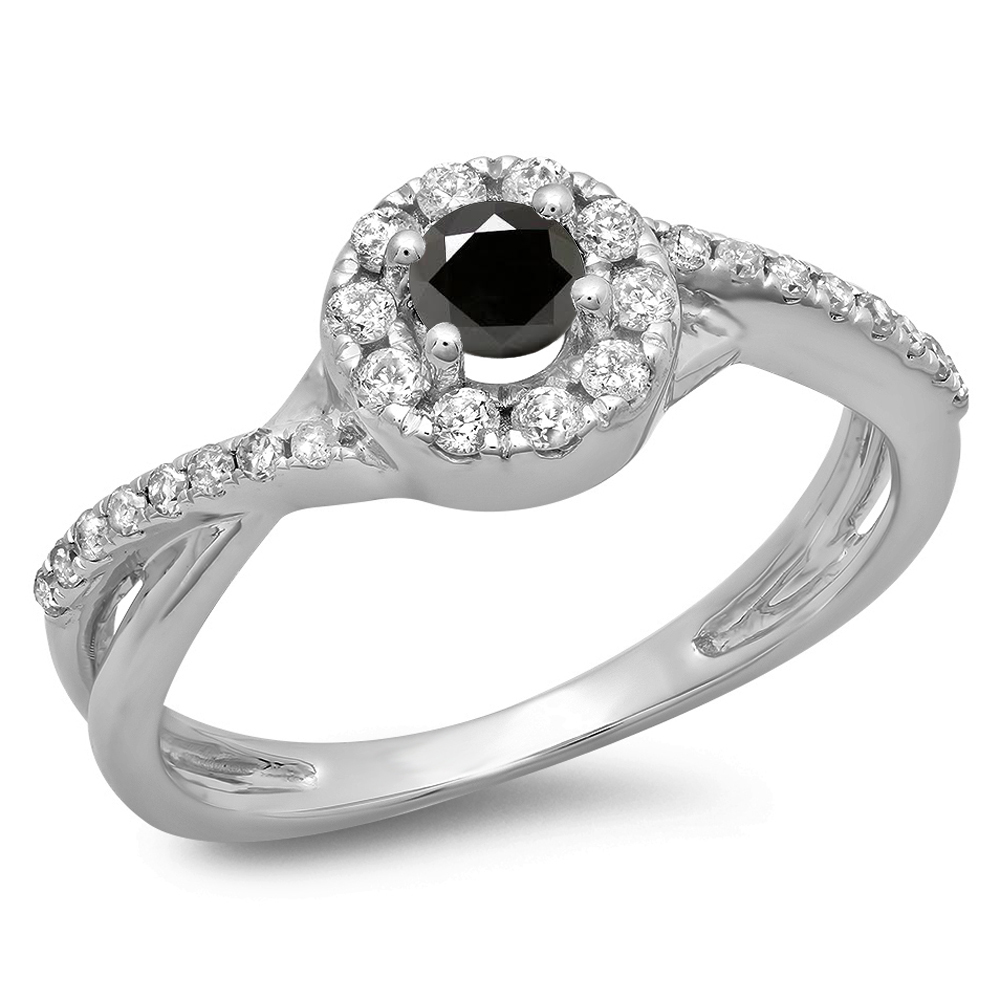 0.50 Carat (ctw) 18K White Gold Round Cut Black & White Diamond Ladies Swirl Split Shank Bridal Halo Engagement Ring 1/2