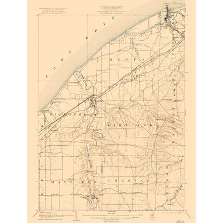 Topographic Map - Mentor Ohio Quad - USGS 1907 - 23 x - Party City Mentor Ohio