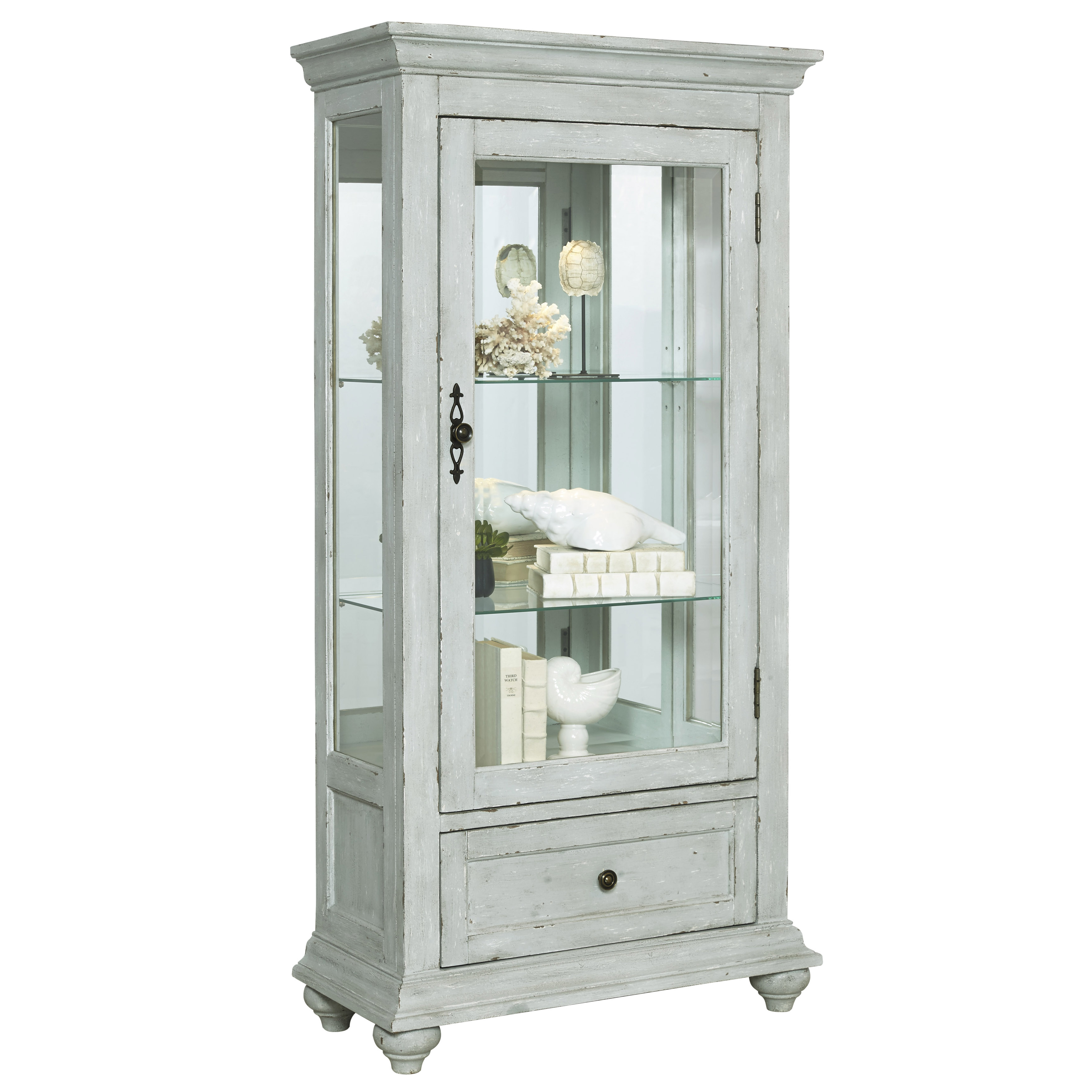 Glass Curio Cabinet in Weathered Grey