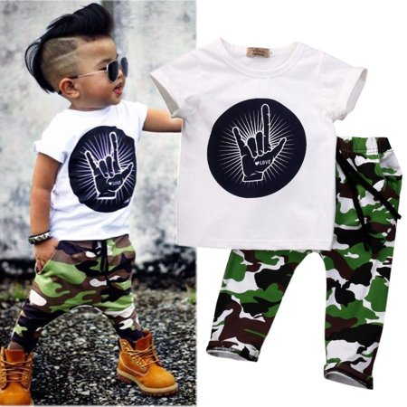 Casual Toddler Baby Kids Boys Clothes Set T-shirt Tops Camouflage Pants - Boys Casual Clothing