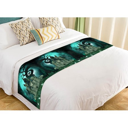 YKCG Magic Fantasy Castle Halloween Night Mystic trees Bed Runner Bedding Scarf Size 20x95 inches - Halloween Magic Castle