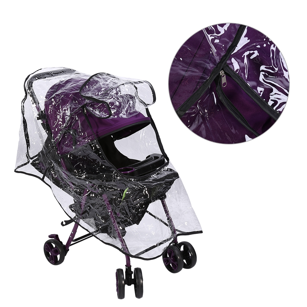 Dilwe 1Pc Pvc Universal Waterproof Baby Stroller Rain Cover Dust Wind Shield Pram Accessory, Buggy Rain Cover, Baby Pushchair Shield