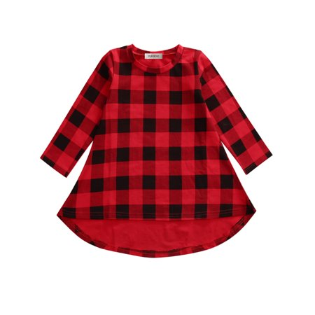 StylesILove Little Girl Black and Red Checked Plaid Long Sleeve Cotton Casual Party Dress (120/5-6 - Girls Plaid Dress