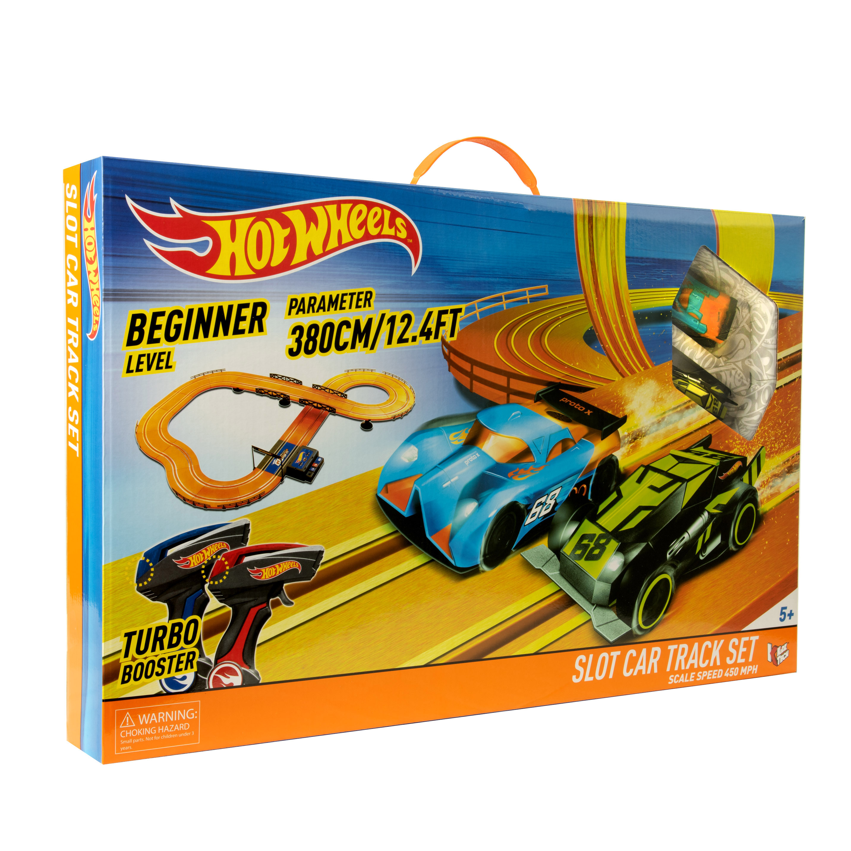 Hot Wheels Battery Operated 12 4 Slot Car Track Racing Set With 2 Vehicles