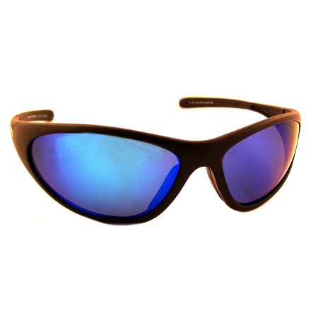 Bad Barracuda Polarized Sunglasses with Black Frame,Blue Mirror and Grey Polarised Lens (Fits Medium to Large Faces), Lightweight wrap frame By Sea (What Sunglasses Fit My Face Shape)