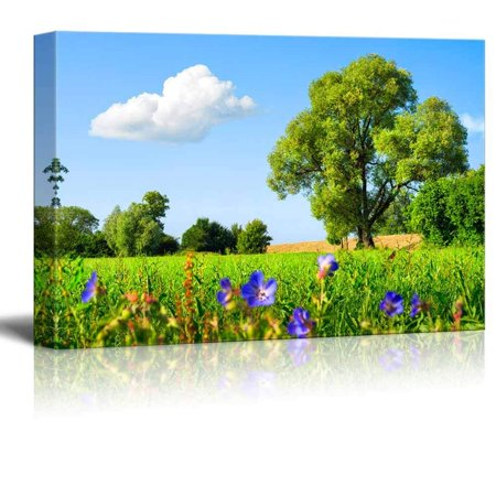 Idyllic Scenery Landscape with Fresh Green Meadow Trees Spring Flowers Blue Sky and White Clouds - Canvas Art Wall Decor - 32