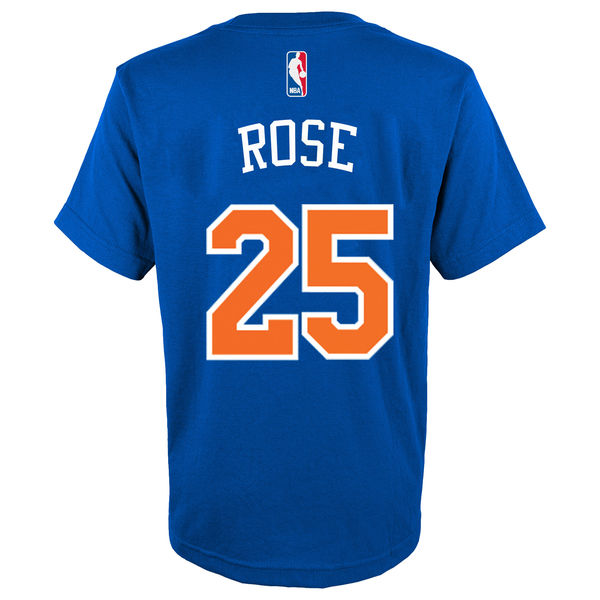 New York Knicks Derrick Rose Adidas NBA Men Player T Shirt Blue M