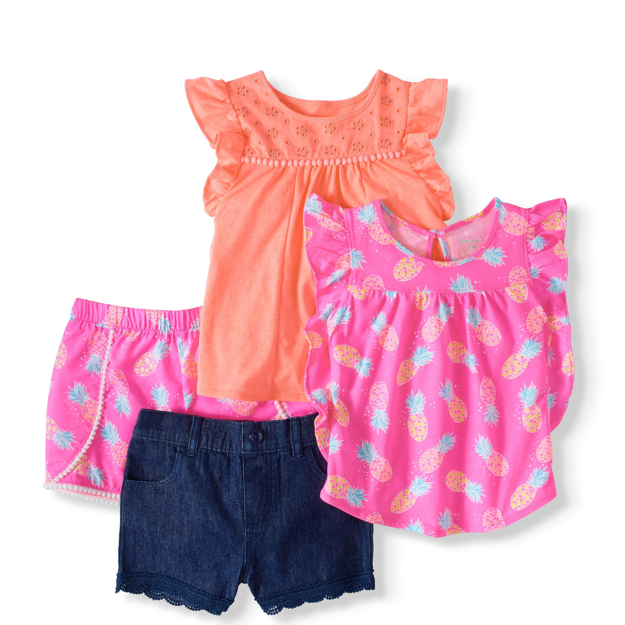 Toddler Girl Flutter Sleeve T-Shirt, Babydoll Top & Shorts, 4Pc Set