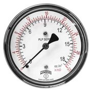 WINTERS Low Pressure Gauge, Back,0 to 32 in. H2 PLP341