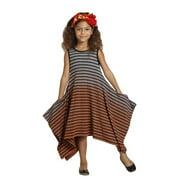 KidCuteTure Girls Tangerine Stripes Gemma Designer Spring Dress 8