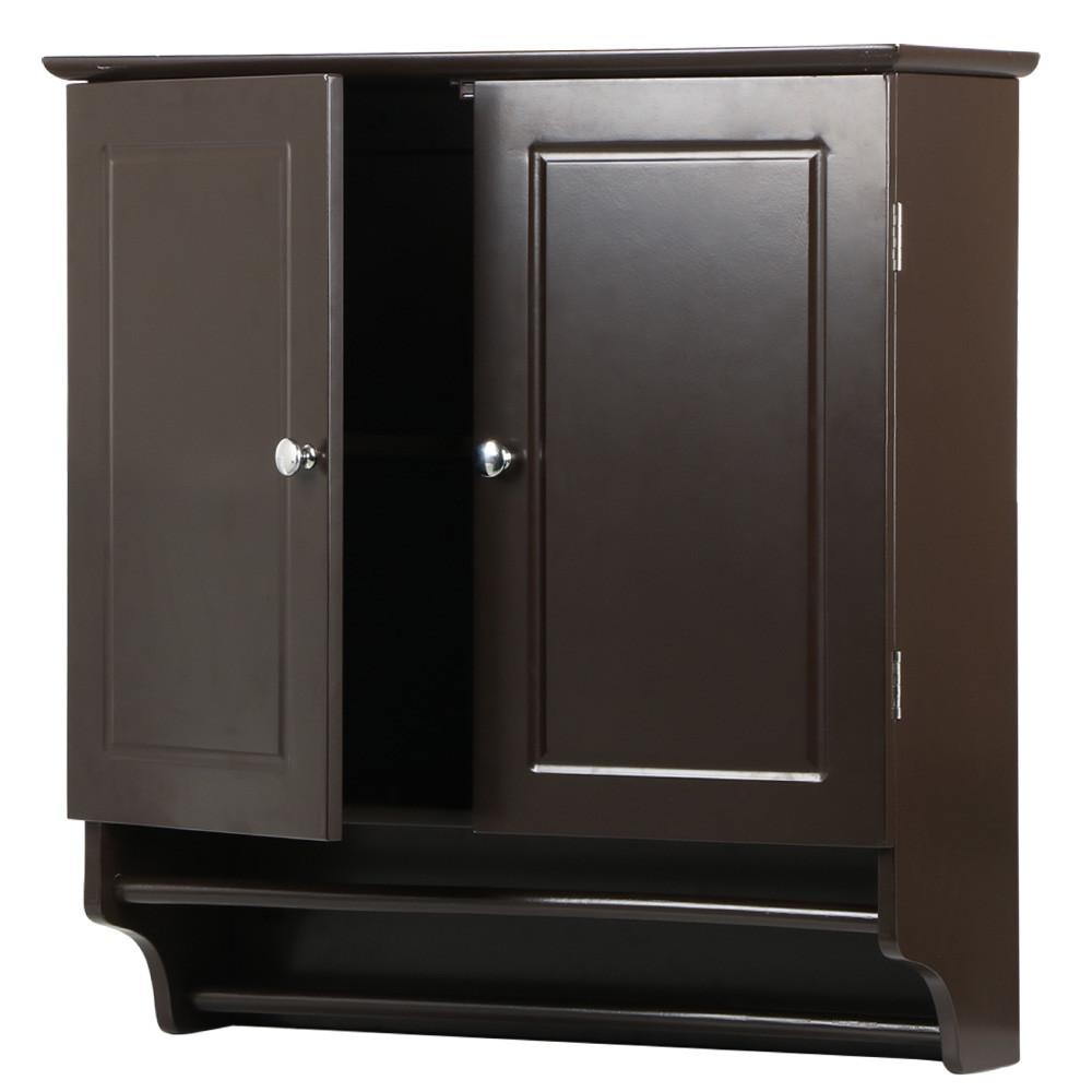 bathroom wall cabinets espresso yaheetech wall mounted cabinet kitchen bathroom wooden 17101