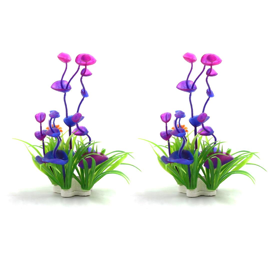 2pcs Purple Plastic Plant Betta Tank Fishbowl Aquascape Decor Ornament w/ Stand - image 3 of 3