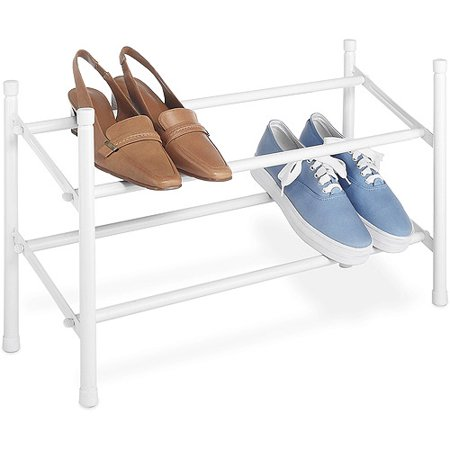 Whitmor 2-Tier Expand / Stack Shoe Rack White Whitmor's Expanding / Stacking Shoe Rack is easy to put together with no tools requiredThis shoe rack is made of a durable white epoxy coated metal. Customizable-expand metal bars from 24  to 45  to hold up to 12 pairs of shoes or stack multiple units for even more storage. Great storage solution to keep shoes off of the floor in your cubby closet, wardrobe, cabinet, entryway, garage, mudroom or any other storage area. Whitmorâ s stacking shoe rack fits great in the closet under hanging clothes. Dimensions: 8.75  x 24.0  x 14.0 .Service and Guarantee: Whitmor stands by our products. If you have any problems, contact us for help