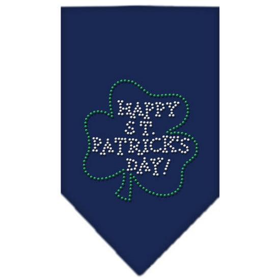 Happy St. Patricks Day Rhinestone Bandana Navy Blue large