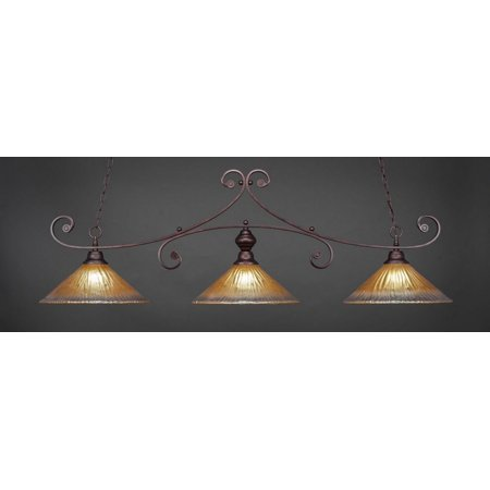 Three Light Bar with 16 in. Amber Crystal Glass (Bronze Finish Billiard Lighting)