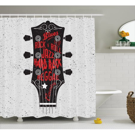 Guitar Shower Curtain, Hand Drawn Genres Blues Pop Hard Rock Reggae Country Music Illustration, Fabric Bathroom Set with Hooks, 69W X 70L Inches, Vermilion Black White, by