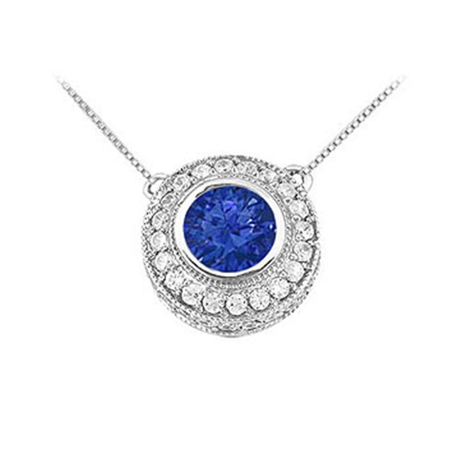 FineJewelryVault UBPD2510W14DS-101 Sapphire and Diamond Pendant : 14K White Gold - 0. 66 CT TGW