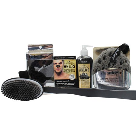 Arlo's Mens Detoxifying Charcoal Grooming Collection 5-PC Set - facial kit for men, best men skin care products collection (Best Facial Kit For Summer)