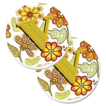 Carolines Treasures CJ2003-VCARC Letter V Floral Mustard & Green Set of 2 Cup Holder Car Coaster - image 1 of 1
