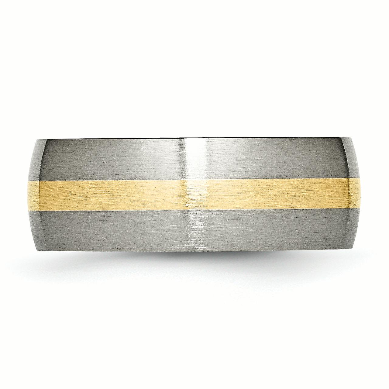 Titanium 14k Yellow Inlay 8mm Brushed Wedding Ring Band Size 8.50 Precious Metal Fine Jewelry Gifts For Women For Her - image 3 de 6