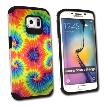 MightySkins Protective Bumper Case Cover for Samsung Galaxy S6 Edge hybrid tpu rubber plastic Tie Dye 2