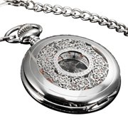 ESS Silver Half Hunter Mechancial Pocket Watch See Through Skeleton Mens  Gift