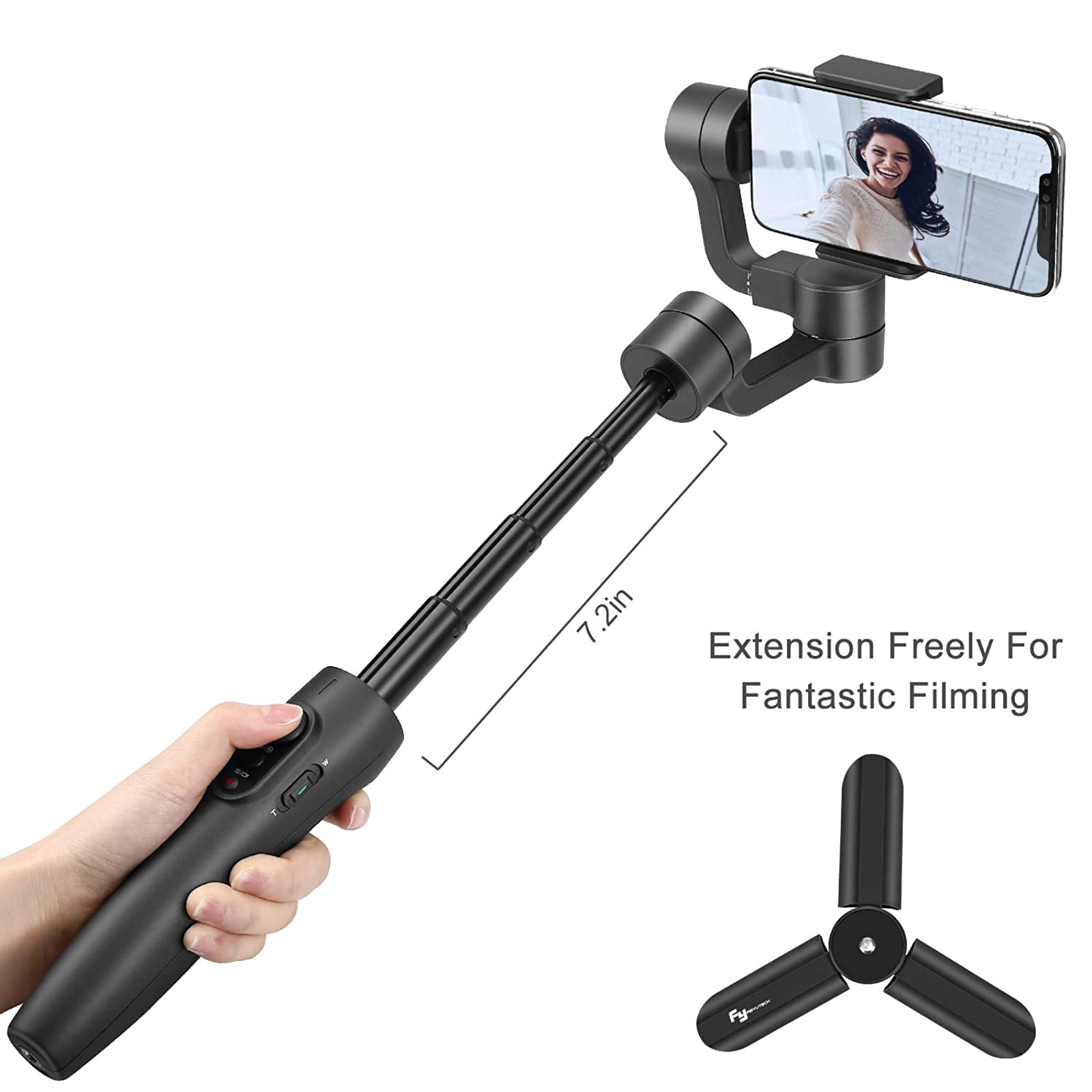 FeiyuTech Vimble 2S Smartphone Gimbal 18cm Extendable Stabilizer Gimble for iPhone 11//Pro//Max and Android Phones Dolly Zoom Selfie-Stick Remote Control with FeiyuOn App Vimble2S