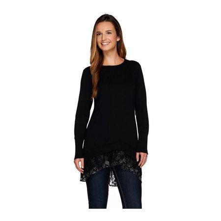 Logo Lori Goldstein Cotton Cashmere Sweater Lace Trim A268747