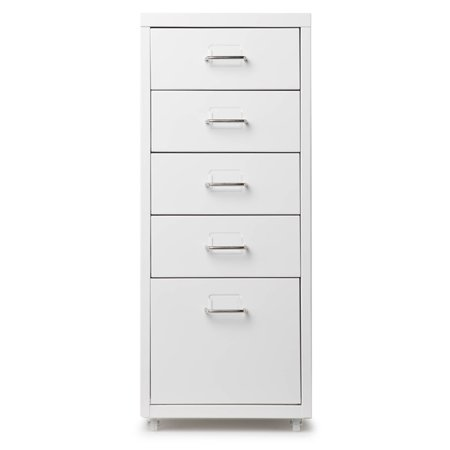 iKayaa Metal Drawer Filing Cabinet Detachable Mobile Steel File Cabinets w/ 5 Drawers 4 Casters