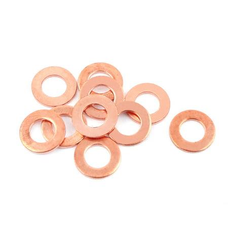 - 10pcs 6mm x 12mm x 1mm Flat Ring Copper Crush Washer Sealing Gasket Fastener