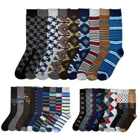 12 Pairs Mens Dress Socks Knocker Design Crew Pattern Stripe Dot Argyle 10-13