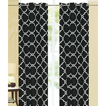 Diamond Chain Print Thermal Insulated 100% Blackout Window Grommet Curtain Panel Set of Two (2) -
