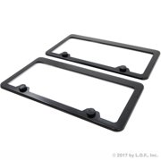2 License Plate Frame Black Stainless Steel Metal Tag Holder with Matching Screw Caps Car Truck Auto Cover