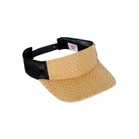 4322e47d503b45 TopHeadwear Straw Summer Sun Visor Hat Cap - Black/Black - image 1 of 2 ...