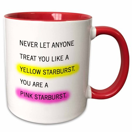 3dRose YOU ARE NOT A YELLOW STARBURST. YOU ARE A PINK STARBURST. - Two Tone Red Mug, 11-ounce - Starburst Reds