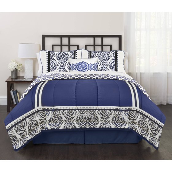india loft blue 4 piece bedding comforter set. Black Bedroom Furniture Sets. Home Design Ideas