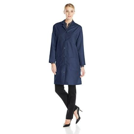 Red Kap Women's Plus Size Lab Coat with Six Button Closure, Navy, XX-Large, 5 ounce. Performance blend poplin By - Plus Size Lab Coat
